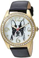 Betsey Johnson Women's Quartz Metal and Leather Casual Watch, Color:Black (Model: BJ00048-203)