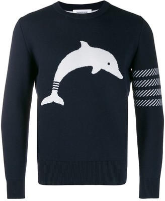 Thom Browne Navy Dolphin Icon crew neck Pullover