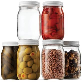 clear Shopokus Glass Mason Jar 16 Ounce (1 Pint) - 6 Pack - Regular Mouth, Metal Lid, USDA Approved, Pickling, Preserving, Jam, Honey, Jelly, Canning Jars, Dry Food Storage, Craft Storage, Decorating Jar