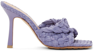 Bottega Veneta Purple Raffia Stretch Heeled Mules