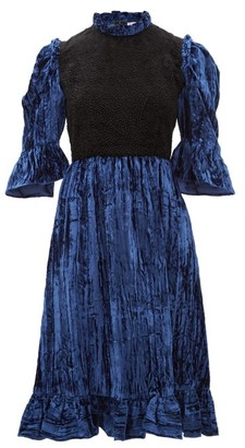 Batsheva Two-tone Ruffled Cotton-velvet Mini Dress - Womens - Black Blue