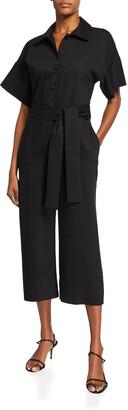 Short-Sleeve Cotton-Blend Poplin Cropped Jumpsuit