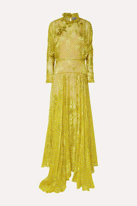 Preen by Thornton Bregazzi Mary Ruffled Printed Devore-chiffon Maxi Dress - Yellow