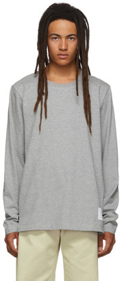 Thom Browne Grey Side Slit Relaxed Fit Long Sleeve T-Shirt