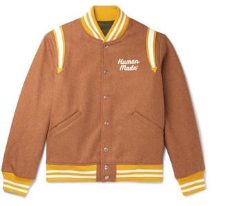 Human Made - Reversible Leather-Trimmed Logo-Appliqued Melton Wool-Blend and Satin Bomber Jacket - Men