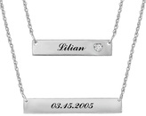 Zales Personalized Diamond Accent Double Bar Necklace in Sterling Silver (1 Name and Date)