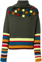 I'M Isola Marras pom-pom striped knitted top - women - Virgin Wool - M