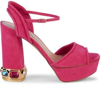 Casadei Embellished Suede Heeled Sandals