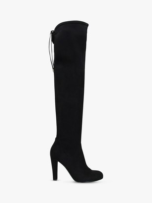 Carvela Pammy Block Heel Over The Knee Suedette Boots, Black