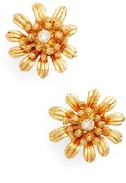 Oscar de la Renta Women's Gilded Floral Button Earrings