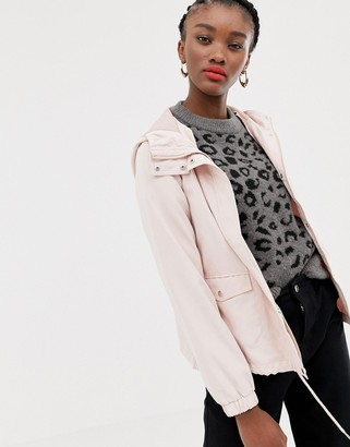 JDY lightweight hooded parka jacket-Pink