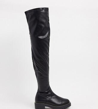ASOS DESIGN Wide Fit Kate flat knee boots in black