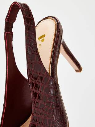 Very Daffodil Wide Fit V-cut Point Slingback Court Shoes - Burgundy