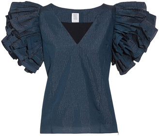 Rosie Assoulin Dust Ruffled Iridescent Seersucker Top