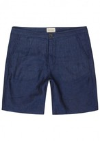 Oliver Spencer Dark Blue Linen Shorts