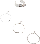 Carole Crystal & Stainless Steel Anklet & Toe Ring Set