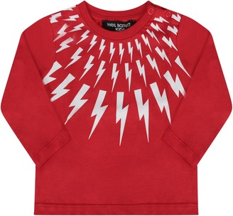 Neil Barrett Red T-shirt With White Thunders For Baby Boy