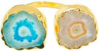Yaa Yaa London Buttermilk Sky Blue Gemstone Gold So Solar Adjustable Ring