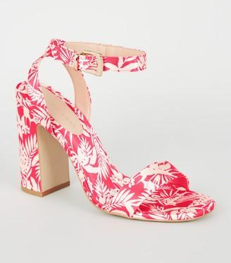 New Look Bright Satin Tropical Block Heels