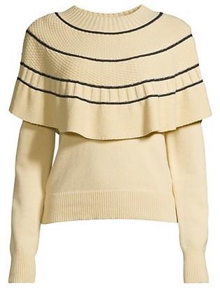 Rebecca Taylor Textural Stripe Cape Sweater