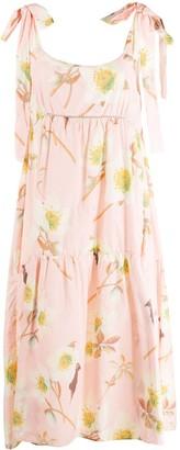 P.A.R.O.S.H. Floral-Print Empire Line Midi Dress