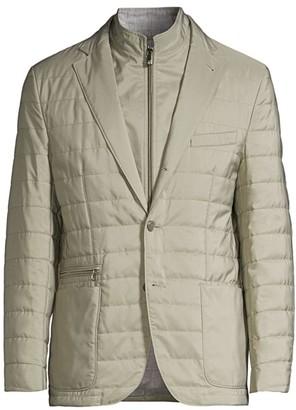 Corneliani Olive Quilted Virgin Wool-Blend Jacket