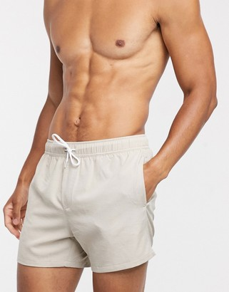 ASOS DESIGN swim shorts in grey linen look fabric in short length