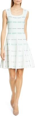 Lela Rose Stripe Knit Fit & Flare Dress