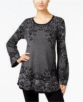 Style&Co. Style & Co. Jacquard Lantern-Sleeve Sweater, Only at Macy's