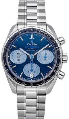 Omega Blue Stainless Steel Speedmaster Chronograph Orbis 324.30.38.50.03.002 Men's Wristwatch 38 MM