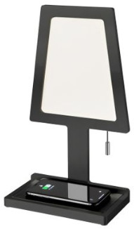 Nordium - Black Charged Wireless Phone Charger & Table Lamp - Black