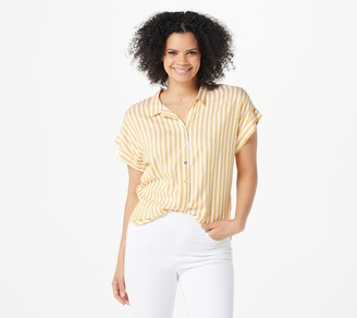 Denim & Co. Naturals Striped Button-Front Top