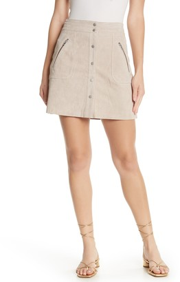 Blanknyc Denim Suede Button Front Mini Skirt