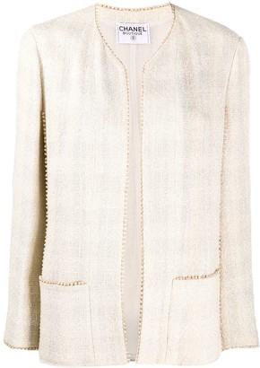 Chanel Pre Owned Beaded-Trim Tweed Jacket
