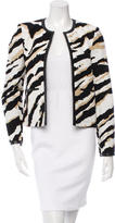 Gucci Leather-Trimmed Tiger Print Jacket w/ Tags