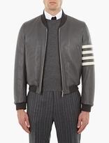 Thom Browne Grey Leather Varsity Bomber Jacket