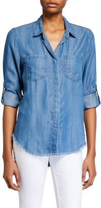 Velvet Heart Riley Button-Down Split-Back Fray-Hem Denim Shirt