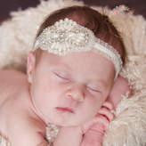 Etsy baby headband, Newborn Headband, Christening Headband, Baptism headband, Gatsby crystal pearls Headb