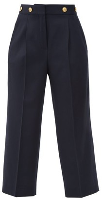Givenchy 4g-buttons High-rise Wool Grain De Poudre Trousers - Womens - Navy