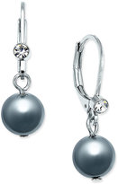 Charter Club Silver-Tone Imitation Gray Pearl and Crystal Drop Earrings, Only at Macy's