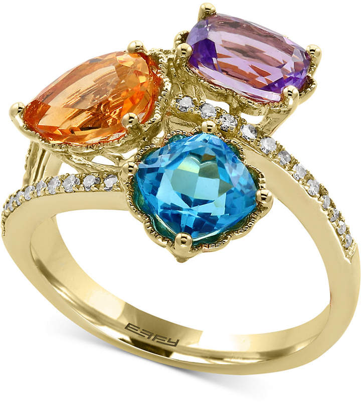 Effy Multi-Gemstone (3-1/2 ct. t.w.) and Diamond (1/8 ct. t.w.) Ring in 14k Gold