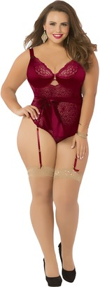 Seven Til Midnight SEVEN 'TIL MIDNIGHT Women's Plus Size Floral Lace Teddy with Sash