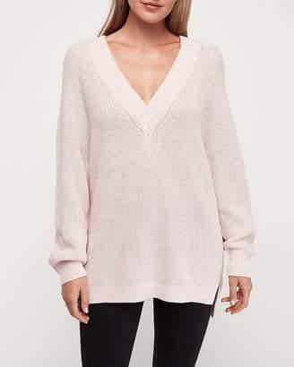 Express Oversized V-Neck Tunic Sweater