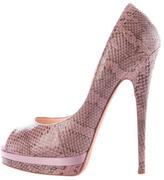 Casadei Embossed Peep-Toe Pumps
