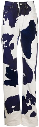 Off-White Cow-Print Straight-Leg Jeans