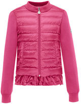 Moncler Maglia Fleece Zip Cardigan w/Down Front & Ruffle Bottom, Size 4-6