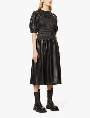 Topshop Smocked faux-leather midi dress