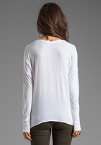 C&C California Crepe/Jersey Mix Long Sleeve Henley