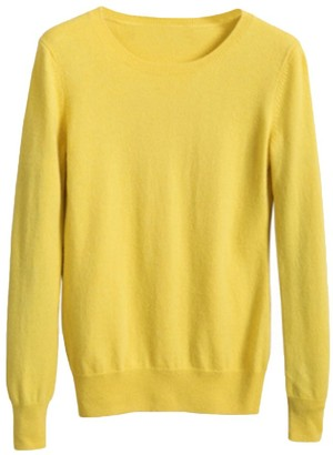 Tidecc Womens Ladies Cashmere Sweater Long Sleeve Crew Neck Soft Knitted Sweater Pullover Blouse Jumper Tops 12 Colors (Tag M(UK 8)