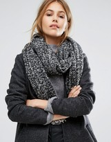 Pieces Gray Marl Scarf with Contrast Tassels
